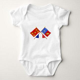 Crossed flags Poitou-Charentes & Charente-Maritime Baby Bodysuit