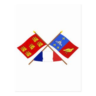 Crossed flags Poitou-Charentes & Charente-Maritime Postcard
