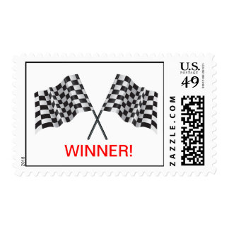 crossed flags representing sport or finishing line postage