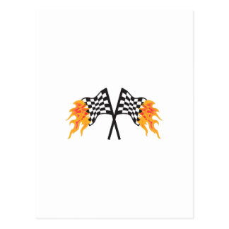 CROSSED FLAMING RACING FLAGS POST CARDS