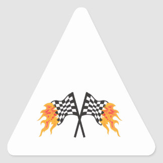 CROSSED FLAMING RACING FLAGS TRIANGLE STICKER