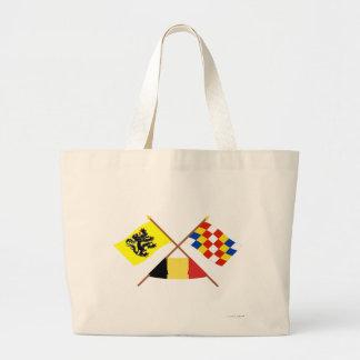 Crossed Flanders and Antwerp Flags with Belgium Jumbo Tote Bag