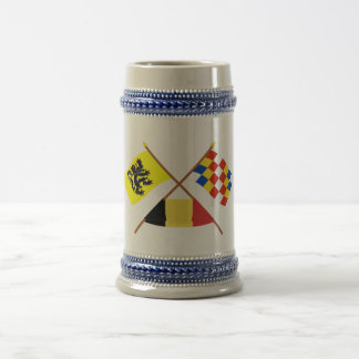 Crossed Flanders and Antwerp Flags with Belgium Mugs