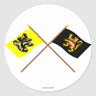 Crossed Flanders and Flemish Brabant Flags Round Stickers