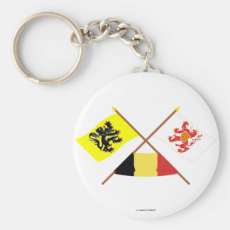 Crossed Flanders and Limbourg Flags with Belgium Key Chain