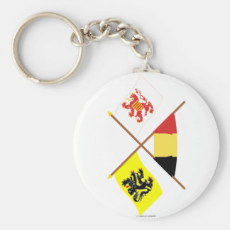 Crossed Flanders and Limbourg Flags with Belgium Key Chains