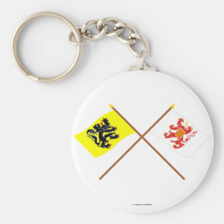 Crossed Flanders and Limburg Flags Keychains