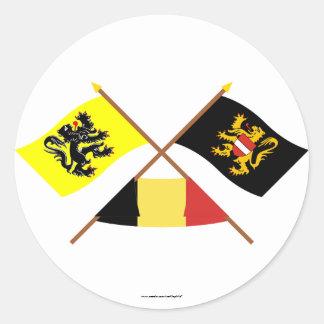 Crossed Flanders & Flemish Brabant Flags w Belgium Classic Round Sticker