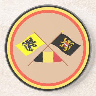 Crossed Flanders & Flemish Brabant Flags w Belgium Drink Coaster