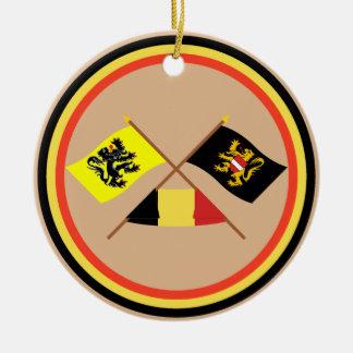 Crossed Flanders Flemish Brabant Flags w Belgium Christmas Tree Ornaments