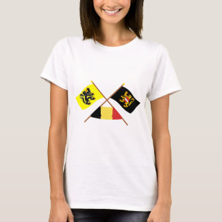 Crossed Flanders & Flemish Brabant Flags w Belgium T-Shirt