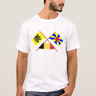 Crossed Flanders & West Flanders Flags w Belgium T-Shirt