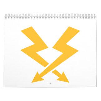 Crossed flash lightning bolts calendar