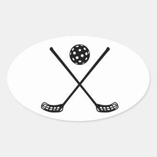 Crossed floorball sticks oval sticker