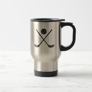 Crossed floorball sticks travel mug