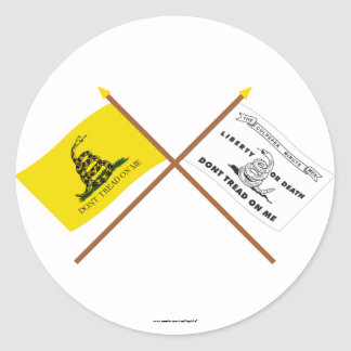 Crossed Gadsden and Culpeper Flags Classic Round Sticker