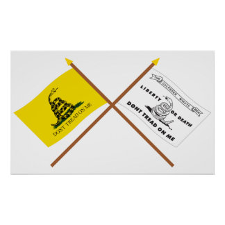 Crossed Gadsden and Culpeper Flags Posters