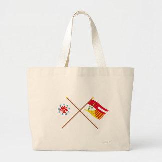 Crossed German Speaking Community and Liège Flags Tote Bag