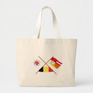 Crossed German Speaking Community and Liège Flags Bag