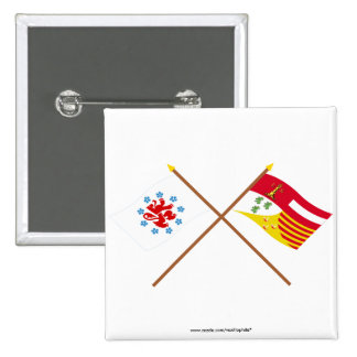 Crossed German Speaking Community and Liège Flags Buttons