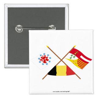 Crossed German Speaking Community and Liège Flags Pinback Buttons