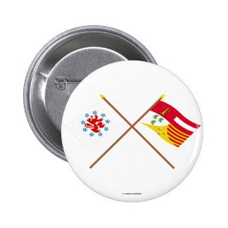Crossed German Speaking Community and Liège Flags Pin