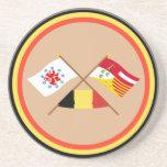 Crossed German Speaking Community and Liège Flags Coaster