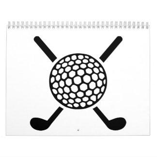 Crossed golf clubs ball calendar