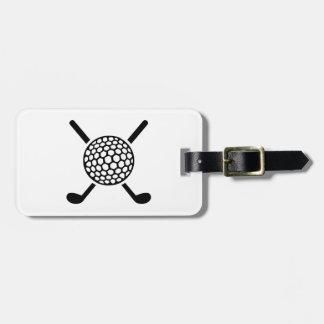 Crossed golf clubs ball luggage tag
