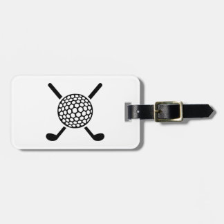 Crossed golf clubs ball tag for bags