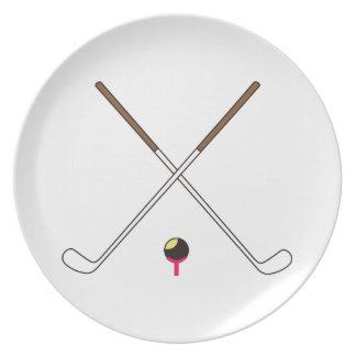Crossed Golf Clubs Dinner Plate