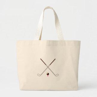 Crossed Golf Clubs Large Tote Bag