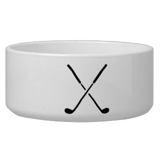 Crossed golf clubs pet bowl