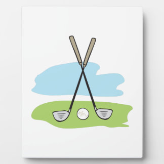CROSSED GOLF CLUBS DISPLAY PLAQUES
