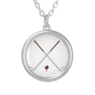 Crossed Golf Clubs Round Pendant Necklace
