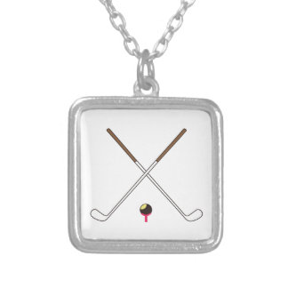 Crossed Golf Clubs Square Pendant Necklace