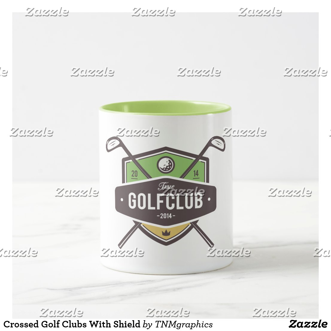 Crossed Golf Clubs With Shield Mug