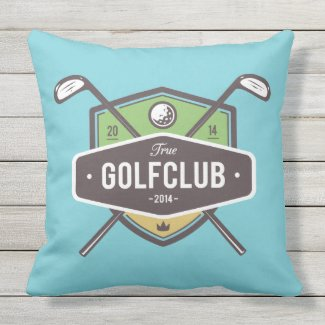 Crossed Golf Clubs With Shield Outdoor Pillow