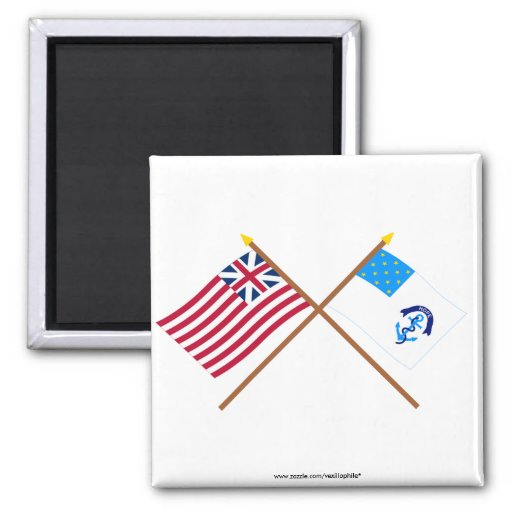 Crossed Grand Union and 2nd Rhode Island Regiment  2 Inch Square Magnet