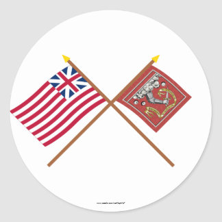 Crossed Grand Union and Bedford Flags Classic Round Sticker
