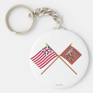 Crossed Grand Union and Bedford Flags Basic Round Button Keychain