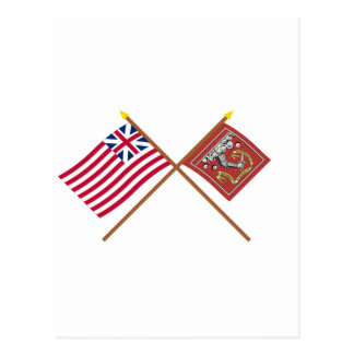 Crossed Grand Union and Bedford Flags Postcard