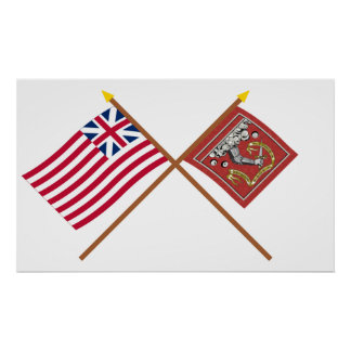 Crossed Grand Union and Bedford Flags Print