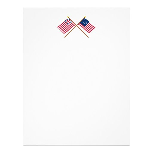 Crossed Grand Union and Bennington Flags Personalized Letterhead