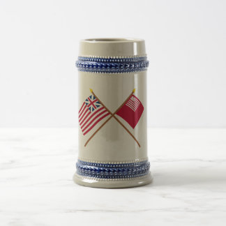 Crossed Grand Union and Brandywine Flags Beer Stein