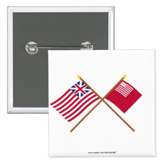 Crossed Grand Union and Brandywine Flags Button