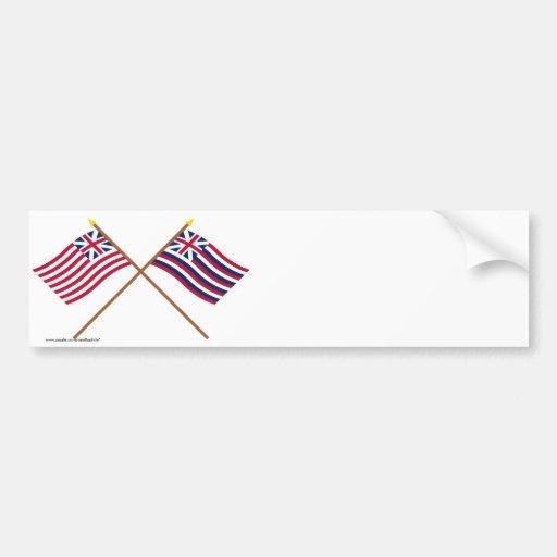 Crossed Grand Union and Brigantine Lexington Flags Car Bumper Sticker