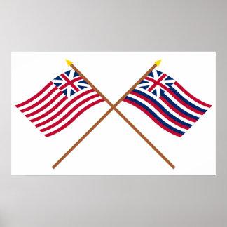 Crossed Grand Union and Brigantine Lexington Flags Poster