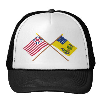 Crossed Grand Union and Bucks of America Flags Hats