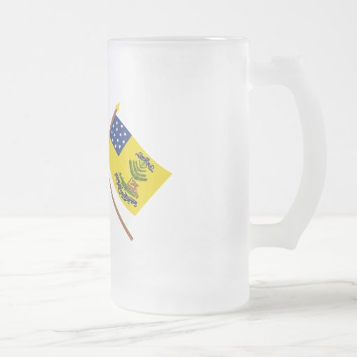 Crossed Grand Union and Bucks of America Flags 16 Oz Frosted Glass Beer Mug